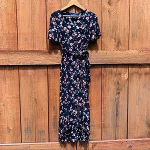 Blue Rain Floral Button Front High Low Dress